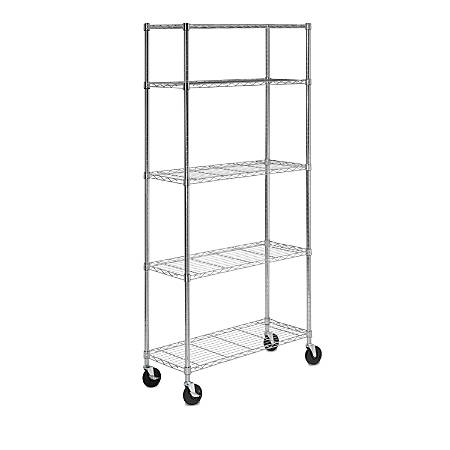 Honey-Can-Do Steel Shelving Unit With Casters, 5-Tiers, Chrome