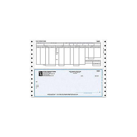 "Custom Continuous Payroll Checks For Dynamics®/Great Plains®/Microsoft®, 9 1/2"" x 7"", 3 Parts, Box Of 250"