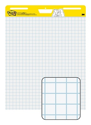 Post it self stick easel pad 25 x 30 faint blue 1 grid 30 sheets by