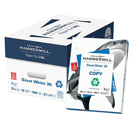 Hammermill® Great White® Copy Paper, 3-Hole Punched, Letter Size Paper, 20 Lb, 30% Recycled, 500 Sheets Per Ream, Case Of 10 Reams