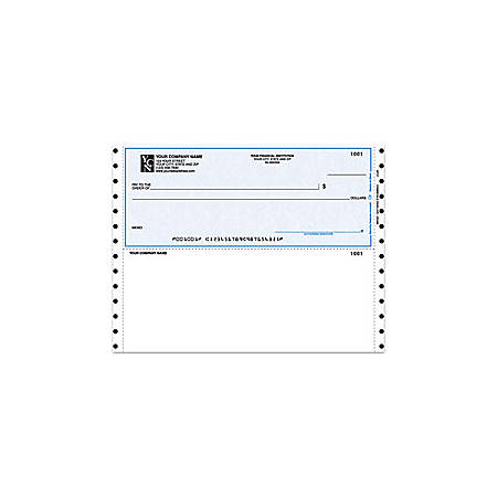 "Custom Continuous Multipurpose Voucher Checks For Quicken® / Quickbooks® / Microsoft®, 9 1/2"" x 7"", 3 Parts, Box Of 250"