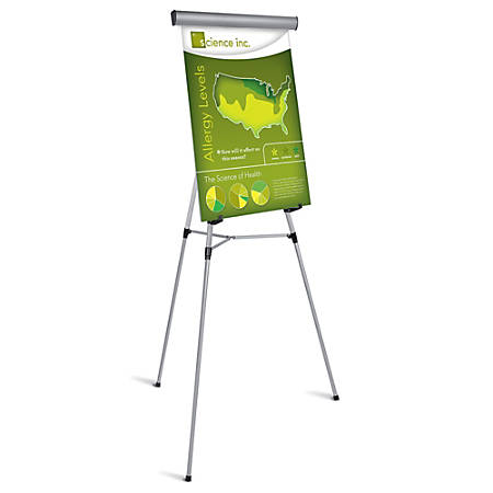 "Office Depot® Brand Presentation Easel, 35 1/2""-65""H, Silver With Chart Holder"
