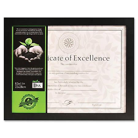 "DAX Certificate Frame - 11"" x 8.50"" Frame Size - Desktop, Wall Mountable - Horizontal, Vertical - Easel Back - 1 Each - Wood - Black"
