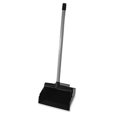 "LobbyMaster Dustpan - 12"" Wide - Plastic, Polyvinyl Chloride (PVC) Handle - Black, Silver"
