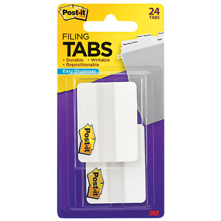 "Post-it® Durable Filing Tabs, 2"", White, Pack Of 24"