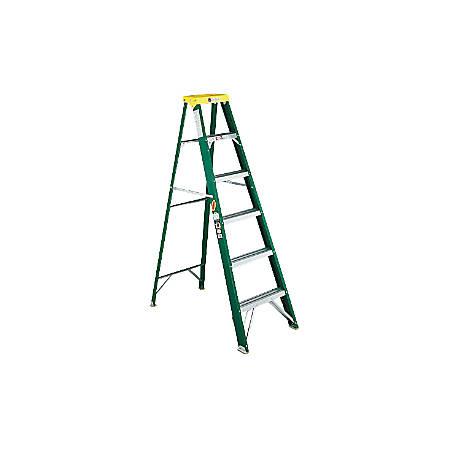 "Louisville Fiberglass Standard Step Ladder - 225 lb Load Capacity72"" - Green"
