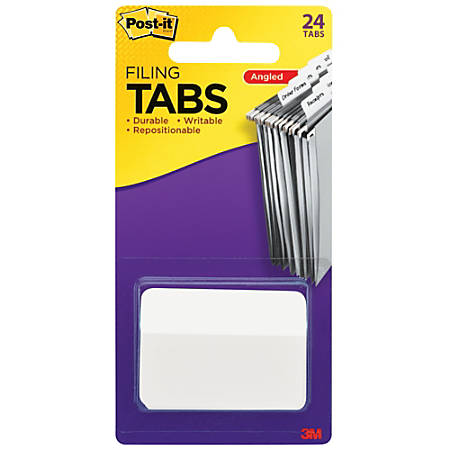 "Post-it® Durable Index Tabs, 2"" x 1 1/2"", Angled, White, Pack Of 24 Flags"