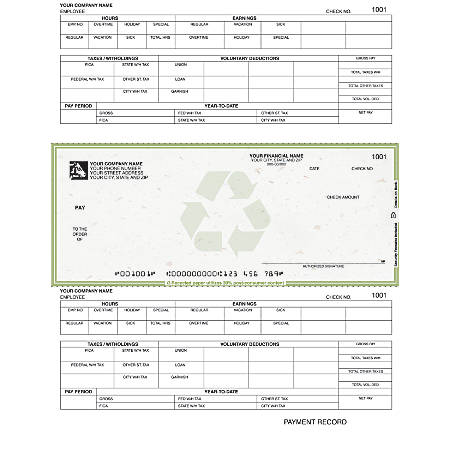 """Laser Payroll Checks For RealWorld®, 8 1/2"""" x 11"""", 2 Parts, Box Of 250"""