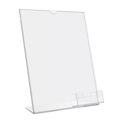 deflecto superior image slanted sign holder with business card