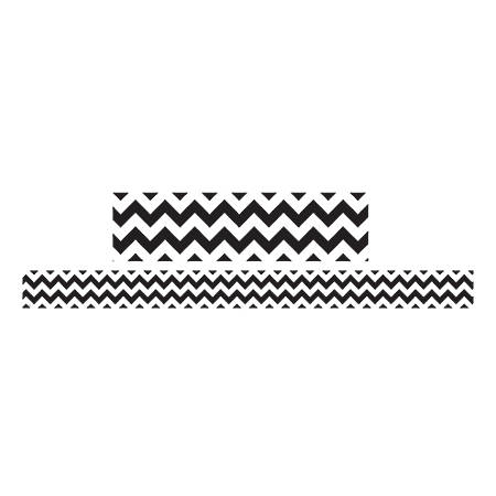"""Teacher Created Resources Double-Sided Borders, 3"""" x 36"""", Black/White Chevron, Pack Of 12"""