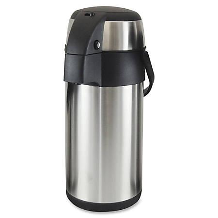 Genuine Joe High Capacity Vacuum Airpot - 3.2 quart (3 L) - Stainless Steel - Stainless Steel