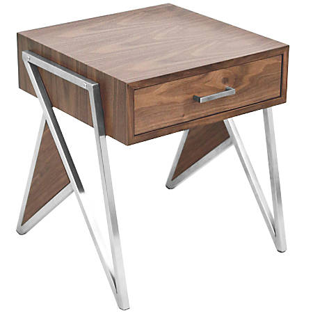Lumisource Tetra Contemporary End Table, Walnut/Stainless Steel