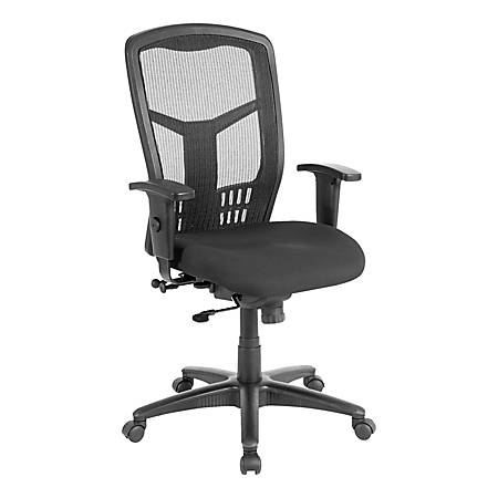 Lorell® Ergonomic Mesh/Fabric High-Back Chair, Synchro Tilt, Black