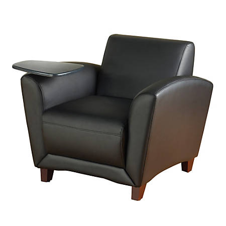 Lorell® Accession Bonded Leather Reception Chair, With Tablet Arm, Black