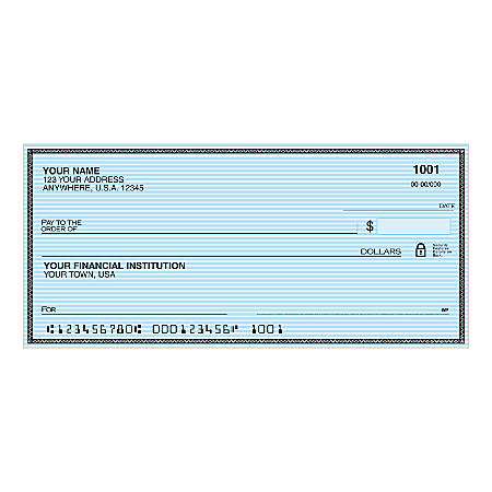 """Personal Wallet Checks, 6"""" x 2 3/4"""", Singles, Safety Blue, Box Of 150"""