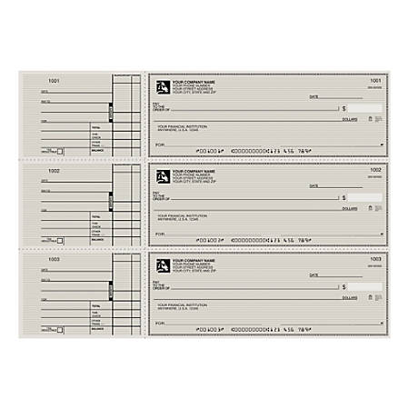 "3-To-A-Page Checks, Style 2, 8 1/4"" x 3 1/24"", 1 Part, Box Of 300"