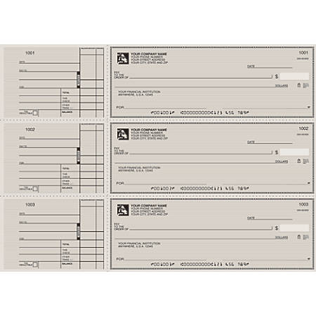 "3-To-A-Page Checks, Style 2, 8 1/4"" x 3 1/24"", 2 Parts, Box Of 300"