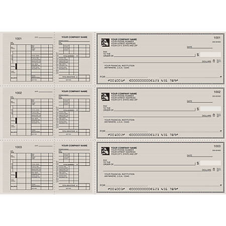 """3-To-A-Page Checks, Style 13, 8 1/4"""" x 3 1/24"""", 2 Parts Box Of 300"""