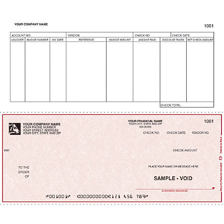 "Continuous Accounts Payable Checks For RealWorld®, 9 1/2"" x 7"", 1 Part, Box Of 250"