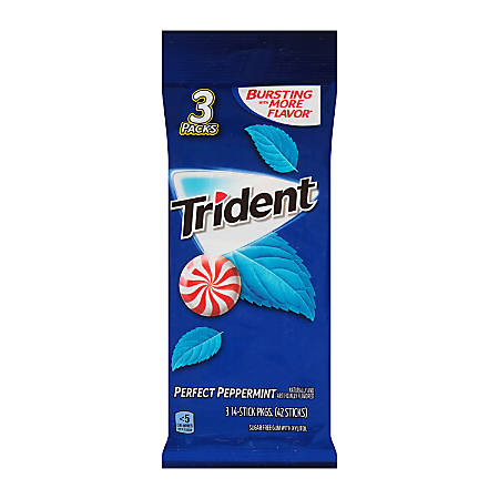 Trident® Peppermint Gum, 14 Pieces Per Pack, 3 Packs Per Bag, Box Of 3 Bags