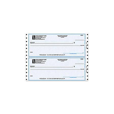 """Custom Continuous Multipurpose Draft Checks For Quicken® / Quickbooks® / Microsoft®, 9 1/2"""" x 3 1/2"""", 1 Part, Box Of 250"""