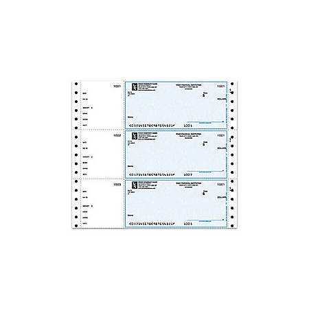 "Continuous Multipurpose Wallet Checks For Quicken® / Quickbooks® / Microsoft®, 9 1/2"" x 2 5/6"", 1 Part, Box Of 250"