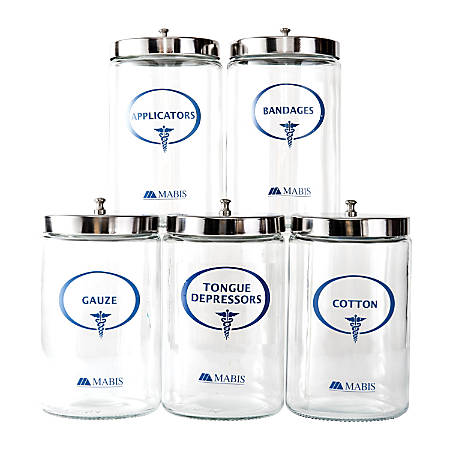 MABIS Stor-A-Lot™ Sundry Apothecary Jars With Imprints, Glass, Clear, Set Of 5