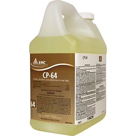 RMC CP-64 Cleaner - Concentrate Liquid - 0.50 gal (64 fl oz) - Fresh Lemon Scent - 4 / Carton - Yellow
