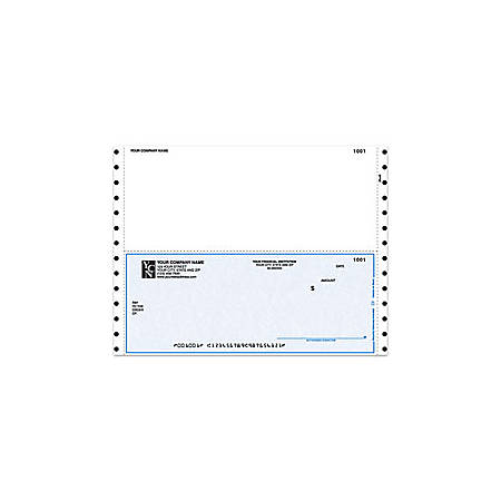 """Custom Continuous Multipurpose Voucher Checks For Sage Peachtree®, 9 1/2"""" x 7"""", 1 Part, Box Of 250"""