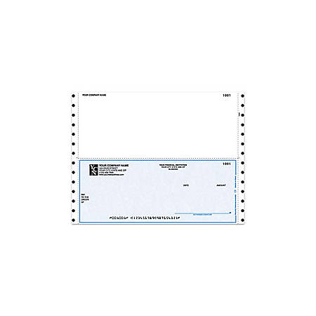 """Custom Continuous Multipurpose Voucher Checks For Business Works®, 9 1/2"""" x 7"""", 2 Parts, Box Of 250"""