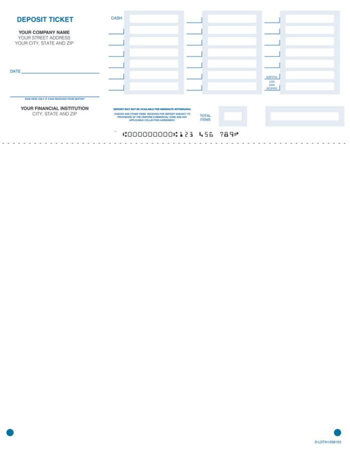 picture regarding Quickbooks Printable Deposit Slips named Laser Deposit Tickets, Quickbooks® Appropriate, 8 1/2\