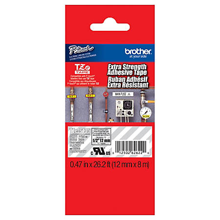 "Brother® TZe-S135 White-On-Clear Extra-Strength Tape, 0.47"" x 26.2'"