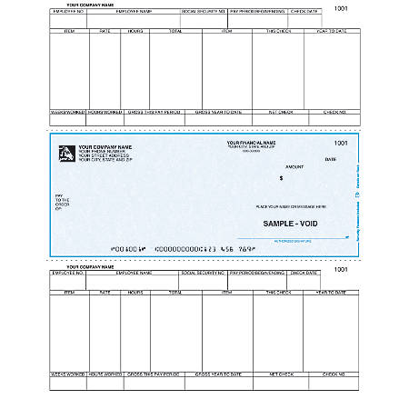 "Custom Laser Payroll Checks For Sage Peachtree®, 8 1/2"" x 11"", 1 Part, Box Of 250"