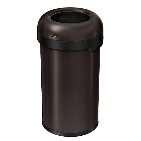 simplehuman® Bullet Open Trash Can, 16 Gallons, Dark Bronze Steel