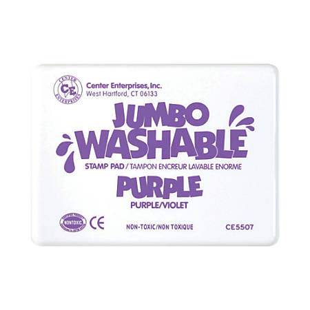 "Center Enterprise Jumbo Washable Unscented Stamp Pads, 6 1/4"" x 4"", Purple, Pack Of 2"