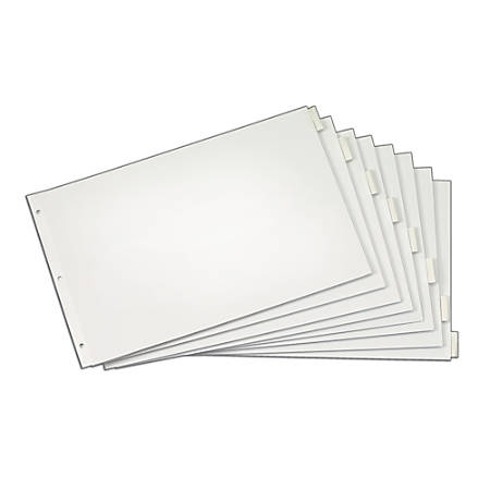 "Cardinal® Tabloid Paper Index Dividers, 11"" x 17"", 8-Tab, Clear"