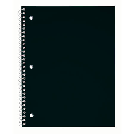"""Just Basics® Poly Spiral Notebook, 8 1/2"""" x 10 1/2"""", College Ruled, 140 Pages (70 Sheets), Black"""