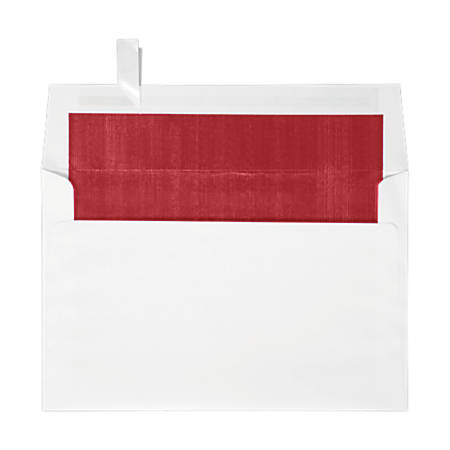 "LUX Invitation Envelopes With Peel & Press Closure, A9, 5 3/4"" x 8 3/4"", Red/White, Pack Of 50"