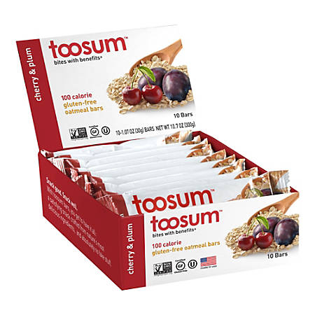 Toosum Healthy Foods Oatmeal Bars, Cherry and Plum, 1.07 Oz, Pack Of 20 Bars