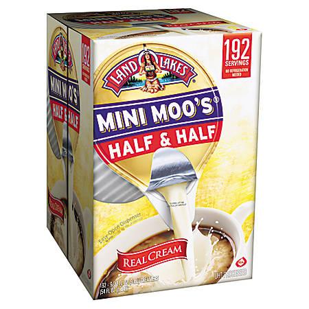 Land O'Lakes Mini Moo's Half And Half Creamer Single-Serve Cups, 0.28 Oz, Carton Of 192