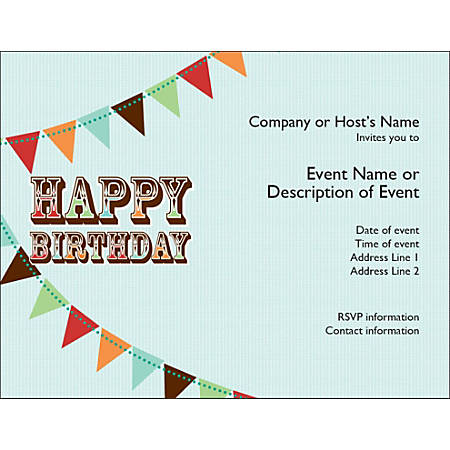 Custom birthday invitations 5 12 x 4 14 bright white pack of 10 by custom birthday invitations 5 12 x filmwisefo