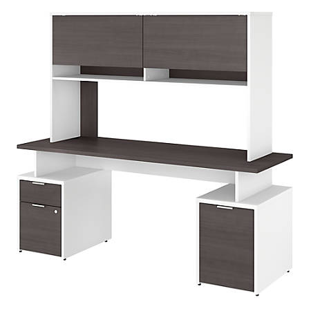"""Bush Business Furniture Jamestown Desk With Drawers, Storage Cabinet And Hutch, 72""""W, Storm Gray/White, Standard Delivery"""