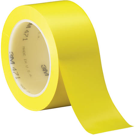 "3M™ 471 Vinyl Tape, 3"" Core, 2"" x 36 Yd., Yellow, Case Of 24"