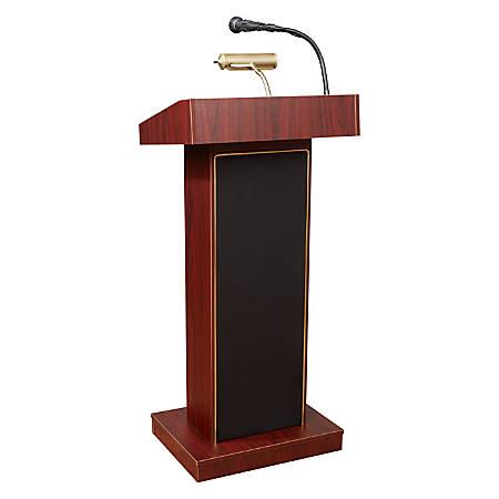 Oklahoma Sound? The Orator Lectern & Wireless Tie Clip/Lavalier Microphone, Mahogany