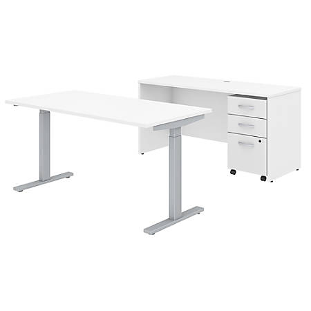 "Bush Business Furniture Studio C 60""W x 30""D Height Adjustable Standing Desk, Credenza and One Mobile File Cabinet, White, Standard Delivery"