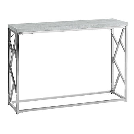 """Monarch Specialties Lorraine Accent Table, 30-1/2""""H x 44""""W x 13-3/4""""D, Gray Cement"""