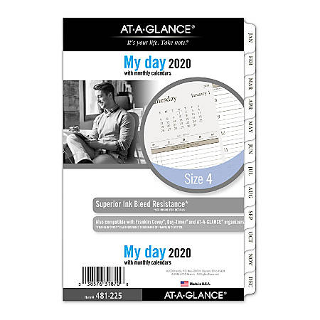 "AT-A-GLANCE® Day Runner® Daily Planner Refill, 2 Pages/Day, Size 4, 5-1/2"" x 8-1/2"", January to December 2020"
