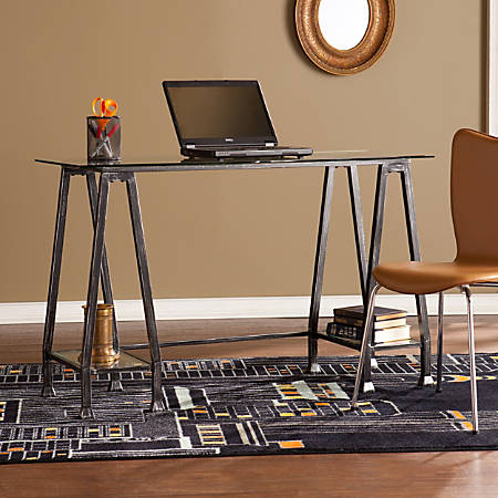Southern Enterprises Metal & Glass A-Frame Desk, Distressed Black/Silver
