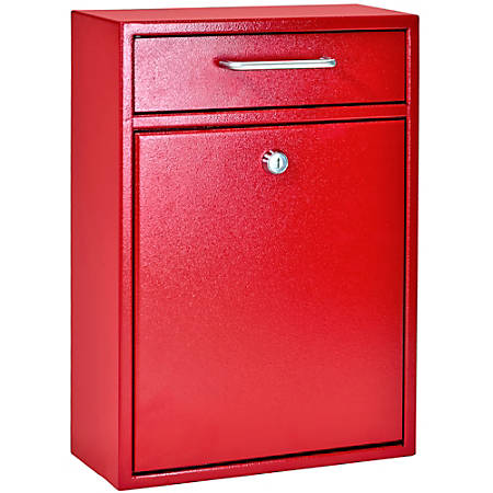 "Mail Boss Locking Security Drop Box, 16-1/4""H x 11-1/4""W x 4-3/4""D, Bright Red"