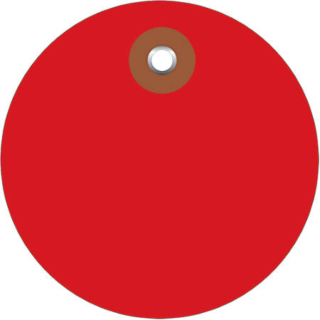 """Office Depot® Brand Plastic Circle Tags, 2"""", Red, Pack Of 100"""